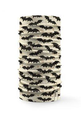 Bandana tubolare con disegni di pipistrelli neri su sfondo sabbia