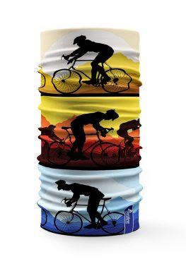 Bandana tubolare colorata raffigurante ciclisti e bici
