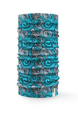 Bandana multifunzione raffigurante figure azzurre astratte