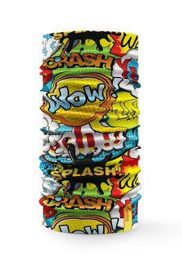 bandana multifunzione con fumetti e disegni street art colorati
