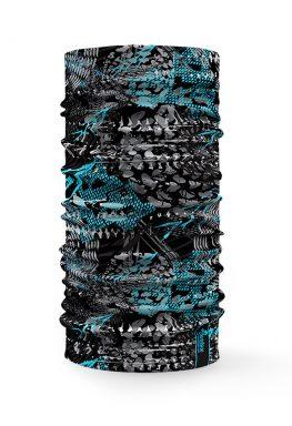 Bandana tubolare sportiva con raffigurazione blu e nera adatta al ciclismo