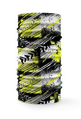 Bandana tubolare sportiva con disegno verde bianco e nero stile sportivo