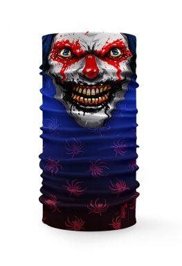 Bandana tubolare raffigurante la faccia di un clown spaventoso su sfondo blu con ragni rossi, perfetta per la festa di Halloween