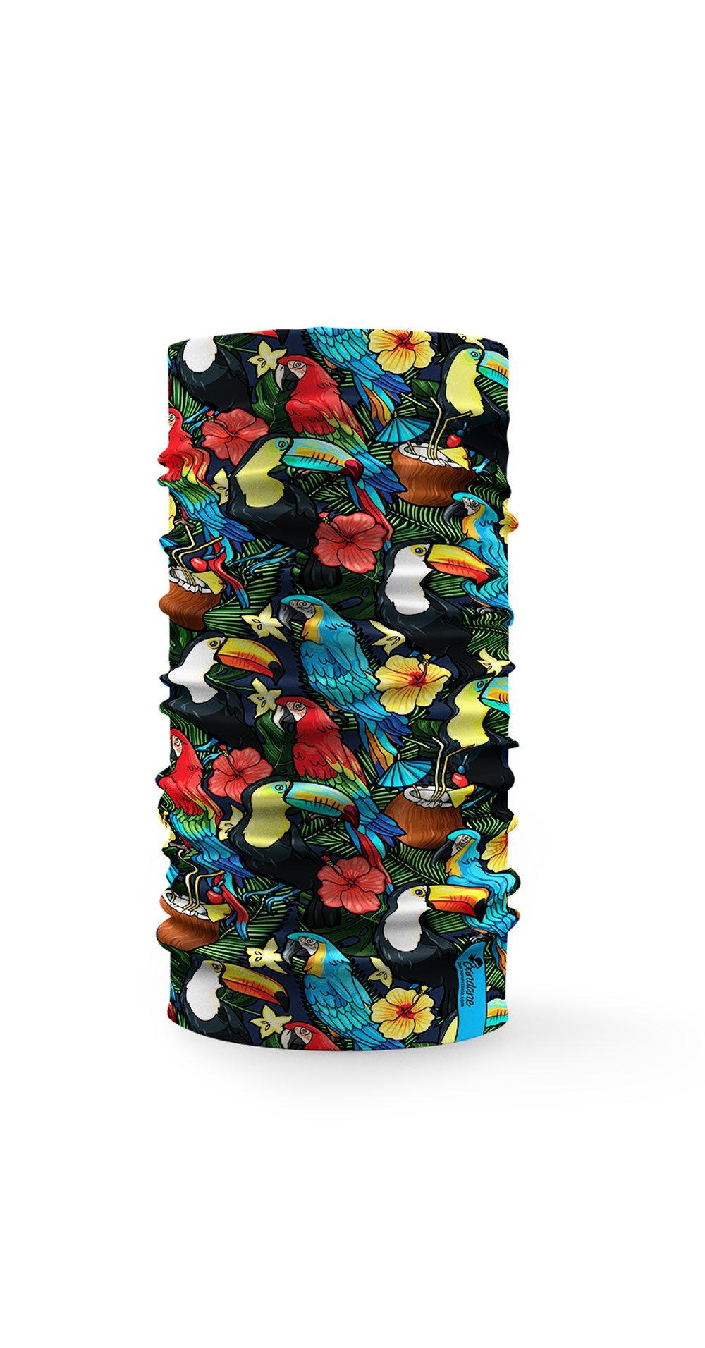 Bandana tubolare con disegnati tucani tropicali multicolore e fiori