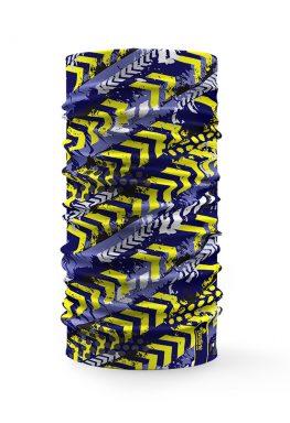 Bandana tubolare con disegno giallo stile sportivo su sfondo blu