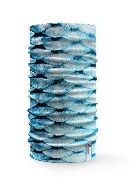 Bandana tubolare con effetto squame di pesce azzurro