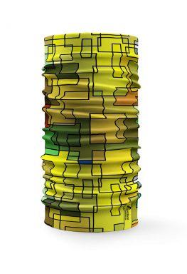 Bandana multifunzione con varie tonalità di giallo e verde