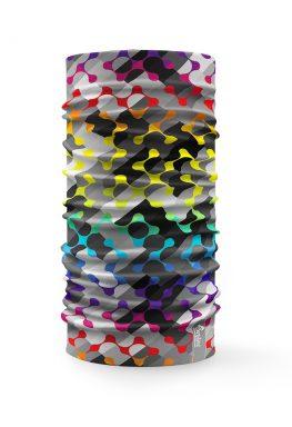 Bandana multifunzione con grafica colorata su sfondo grigio