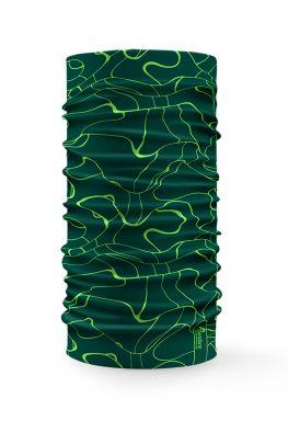 Bandana tubolare multifunzione con disegno grunge verde acceso su sfondo verde scuro