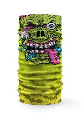 Bandana tubolare con disegno di un mostro spaventoso su sfondo verde, perfetto per la festa di Halloween