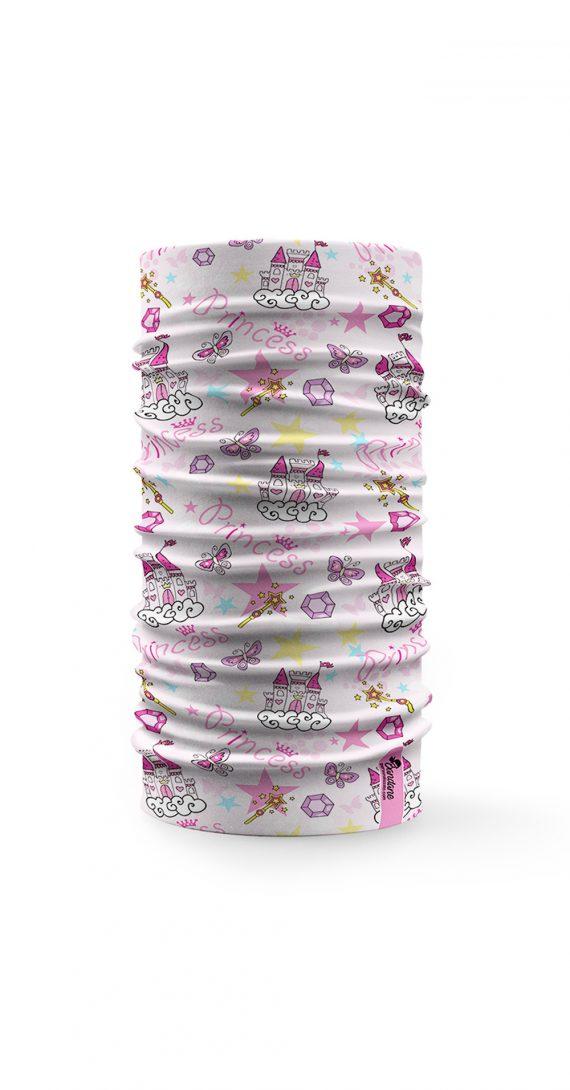 Bandana multifunzione con disegni femminili di castelli e stelline rosa