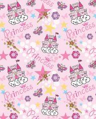 Bandana femminile con raffigurati castelli e stelle rosa e gialle