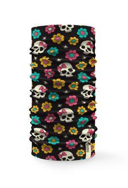 Bandana tubolare con disegnati piccoli teschi e fiori colorati