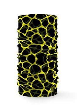 Bandana tubolare sportiva con grafica astratta fluo su sfondo nero