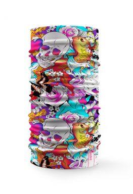 Bandana multicolore con disegni di teschi, fiori e farfalle