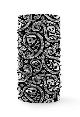 Bandana multifunzione nera con teschi bianchi