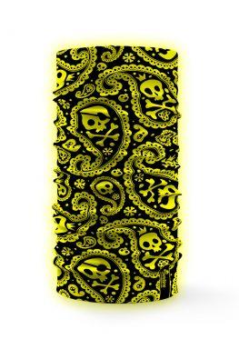 Bandana multifunzione ad alta visibilità con teschi giallo fluo