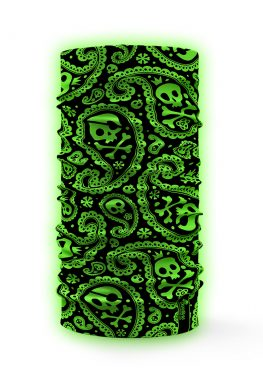 Bandana verde fluo ad alta visibilità con disegnati alcuni teschi