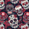 red flower skulls