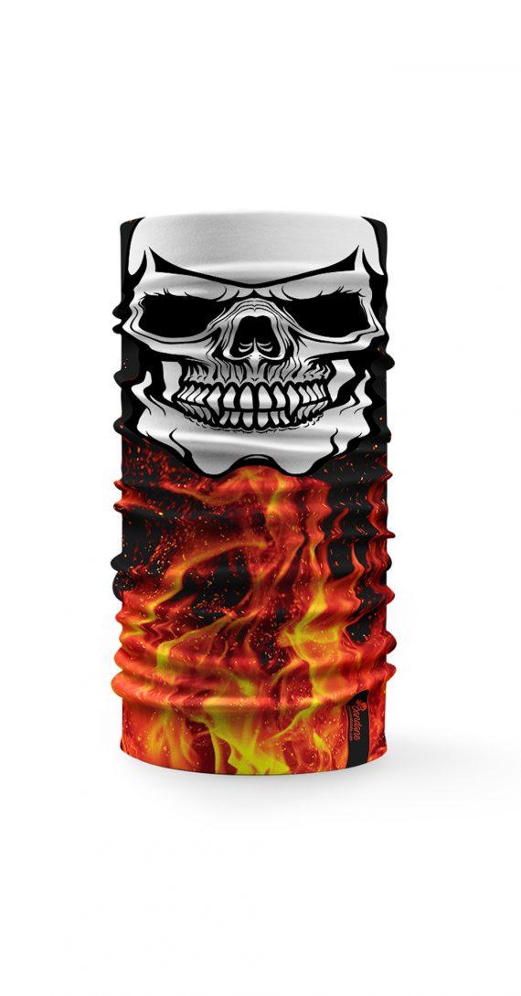 """Bandana """"Face Mask"""" con un teschio su sfondo fiammeggiante"""