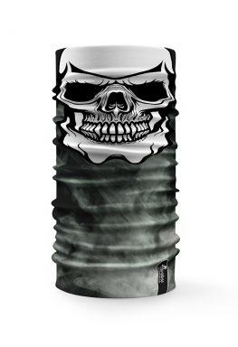 """Bandana """"Face Mask"""" con un teschio su sfondo grigio fumo"""