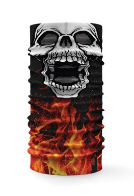 Bandana scalda collo con raffigurato un teschio su uno sfondo con fuoco e fiamme