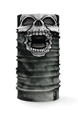 Bandana multifunzione con raffigurata la faccia di un teschio su uno sfondo con fumo grigio