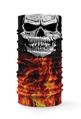 Bandana scalda collo multifunzione con raffigurato un teschio su uno sfondo con fuoco e fiamme