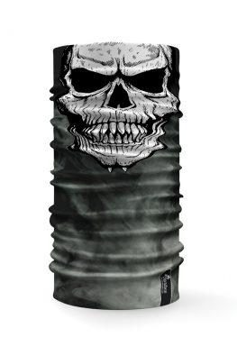 Bandana tubolare con raffigurata la faccia di un teschio su uno sfondo con fumo grigio