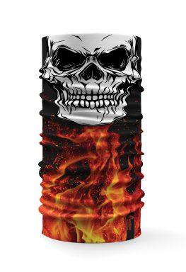 Bandana tubolare con raffigurato un teschio su uno sfondo con fuoco e fiamme