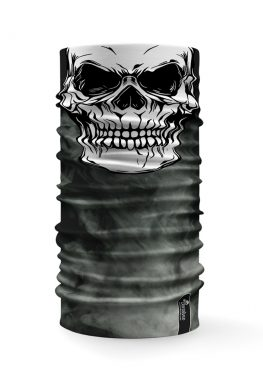 Bandana tubolare con raffigurata la faccia di un teschio su uno sfondo con fumo