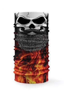 Bandana tubolare con raffigurato un teschio su uno sfondo con fiamme e lava
