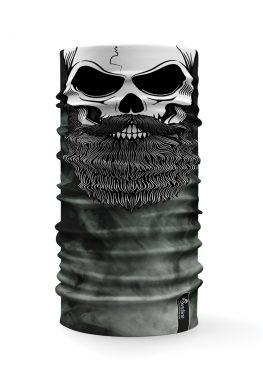 Bandana tubolare con raffigurato un teschio su uno sfondo con fumo