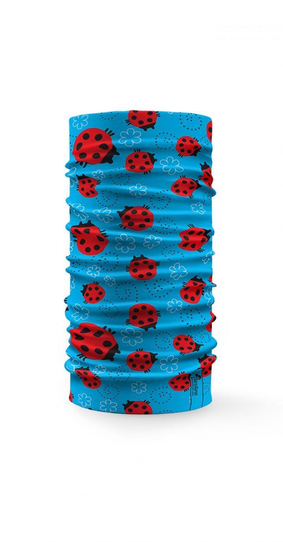 Scaldacollo Bandana Tubolare Coccinelle Rosso Sfondo Azzurro