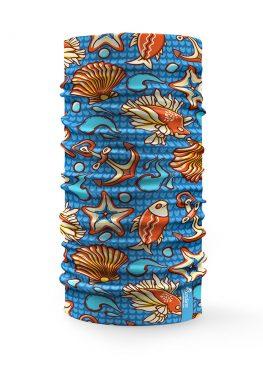 Scaldacollo Bandana Conchiglie Mare Stelle Pesci Ancore blu
