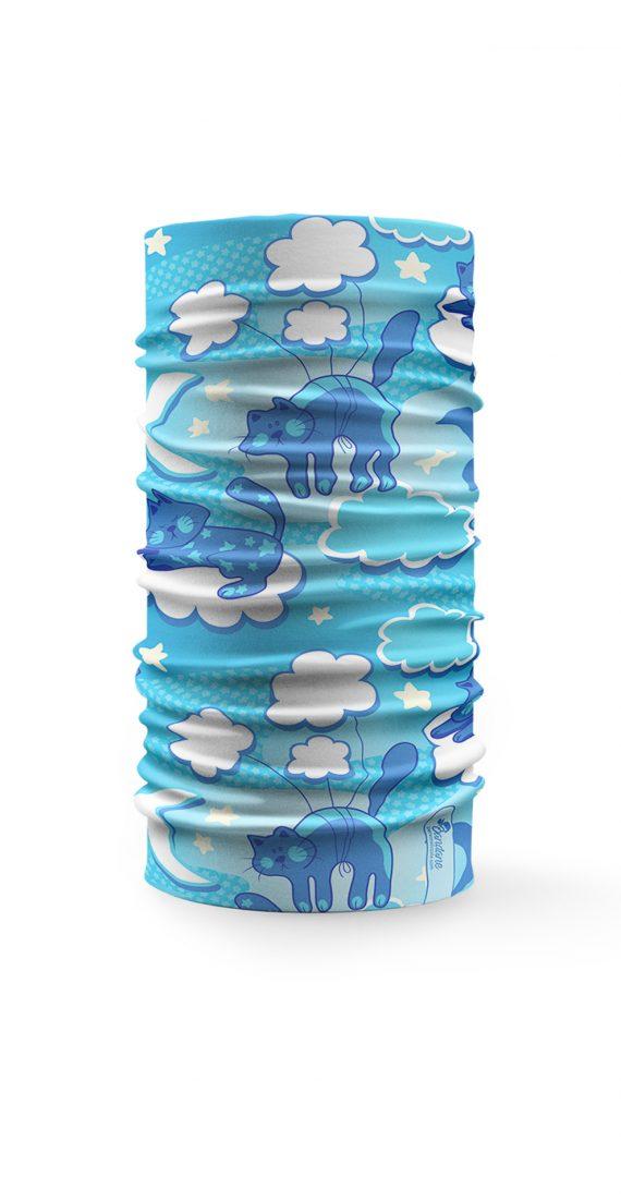 Scaldacollo Gatti sulle nuvole azzurro bandana tubolare multifunzione