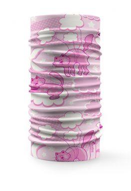 Scaldacollo Gatti sulle nuvole rosa bandana tubolare multifunzione