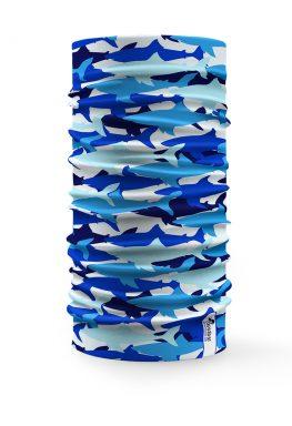 Scaldacollo tubolare squali blu tecture mare azzurro