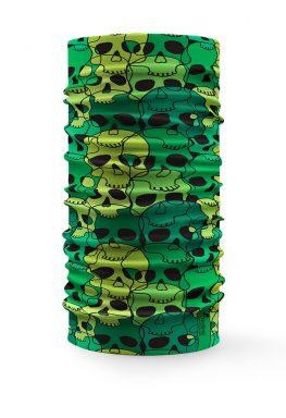 Scaldacollo Bandana Verde Teschi Puzzle