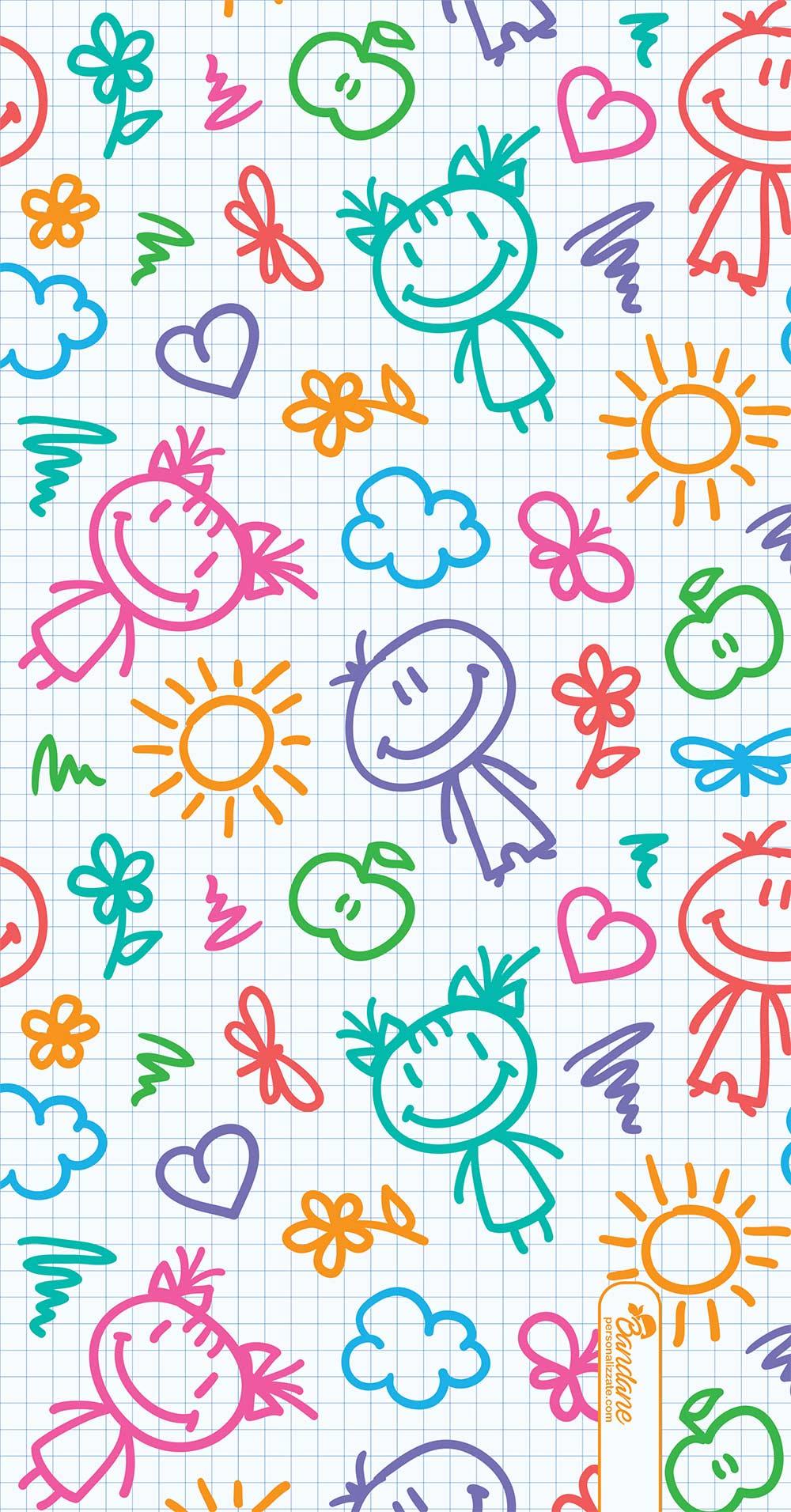 Bandana Bianca Per Bambini Con Disegni Stilizzati Colorati Acquista